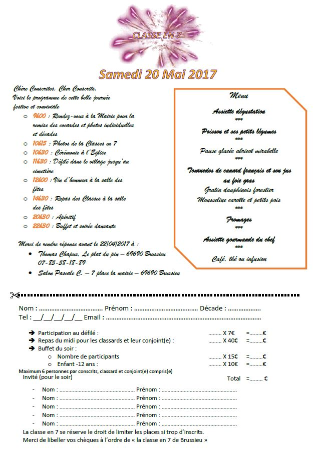 Inscription fête des classes 2017